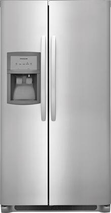 """Frigidaire FFSS2325Tx 33"""" Side-by-Side Refrigerator with 22 cu. ft. Capacity, LED Lighting, External Ice and Water Dispenser, 2 Store-More Glass Shelves, 2 Wire Freezer Shelves, and Automatic Ice Maker, in"""