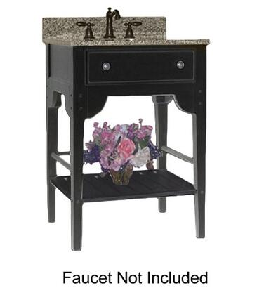 """Kaco Dover Collection 340-3000-B 30"""" Single Sink Vanity with Bottom Shelf, Faux Drawer Front and Distressed Black Sherwin Williams Finish with Granite Top"""