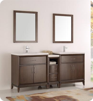 "Fresca Cambridge Collection FVN21-301230 72"" Double Sink Traditional Bathroom Vanity with 2 Mirrors, 4 Soft Close Doors, Tapered Legs, Integrated Ceramic Sink & Countertop and Side Cabinet in"