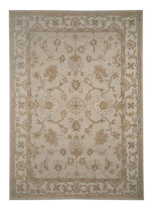 "Milo Italia Alfred RG416160TM "" x "" Size Rug with Loop Floral Design, Hand-Tufted, 5-6mm Pile Height and Indian Wool Material Backed with Cotton Latex in Tan Color"