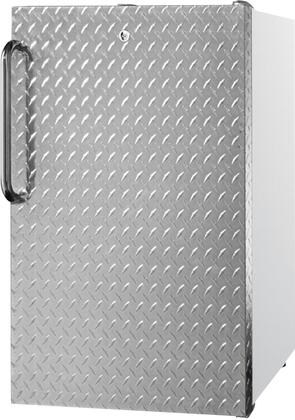 "AccuCold FS407LxDPLx 20"" Upright Freezer with 2.8 cu. ft. Capacity, 4 Pull-Out Storage Drawers, Reversible Door, Factory Installed Lock and Manual Defrost, in Diamond Plate Finish"