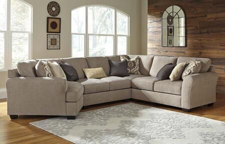 Milo Italia Brenden MI-5748BTMP 4-Piece Sectional Sofa with X Arm Facing Cuddler, Armless Loveseat, Wedge and X Arm Facing Loveseat in Driftwood Color