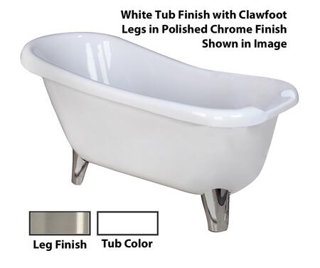 "Barclay ATS61M Fontaine 61"" Acrylic Roll Top Slipper Tub, Tub in White Finish, Modern ClawFoot Design, Overflow, , with Clawfoot Finish in"
