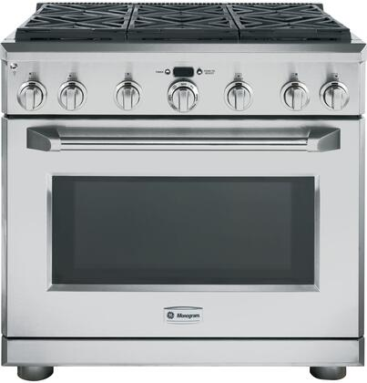 "GE Monogram ZGP366XRSS 36"" Professional Gas Range with 6 Sealed Burners, Dual-Flame Stacked Burners, 6.2 cu. ft. Oven Capacity, Infrared Broil Burner and Halogen Lighting, in Stainless Steel:"