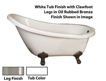 """Barclay ATS54I Drury 54"""" Acrylic Roll Top Slipper Tub, with White Tub Finish, Overflow, Imperial Clawfoot Design, , with Clawfoot Finish in"""