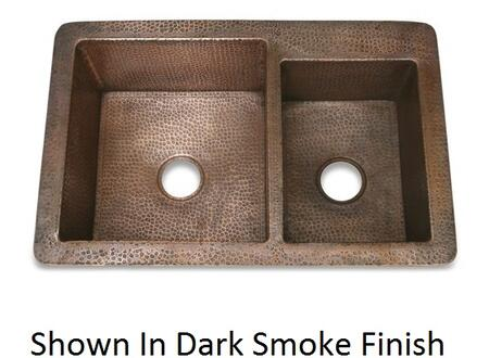 D'Vontz KS33322 Hammered Copper 60/40 Kitchen Sink With 77% Recycled Copper, 99% Pure Copper & In