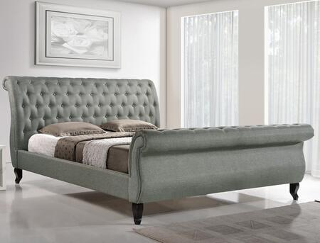 Wholesale Interiors Baxton Studio BBT6317G Antoinette Modern Platform Bed with Wooden Slats, Foam Padding, Medium-Density Fiberboard Frame, Button Tufted Scroll Headboard and Footboard in Grey