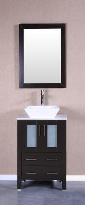 Bosconi Bosconi AB124SQCMX Single Vanity with Soft Closing Doors ,  Drawers, Carrara Marble Top, Ceramic Vessel Sink, Faucet and Mirror in Espresso