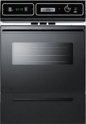 """Summit SMTTM7212x 24"""" Single Gas Wall Oven with Drop Down Broiler Drawer, Electronic Ignition, Oven Window, Oven Light and Clock with Timer, in"""