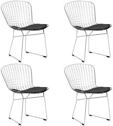 """EdgeMod Morph Collection 21"""" Set of 4 Side Chairs with Plastic Non-Marking Feet, Solid Chrome Steel Frame, Velcro Strips and Leatherette Seat Pad in"""