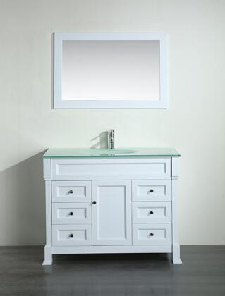 """Bosconi Bosconi 43"""" SB-278WHX Single Vanity with 1 Door, 6 Drawers, 1 Sink Included, Wall Mounted Mirror, Antique Bronze Hardware and Birch Solid Wood Frame in White Color"""