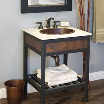 """Native Trails VNR24 24"""" Cuzco Vanity with Hand Hammered Copper, Artisan Crafted, Large Storage Shelf and Finished in"""