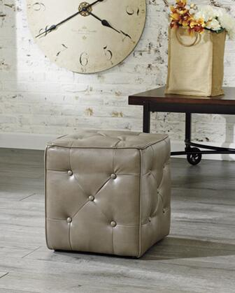 "Signature Design by Ashley 474013 Jive 18"" Cube Accent Ottoman with Buttons, Blocked Corners, Durable Fabrics, and Fiber Wrapped Foam Core, in"