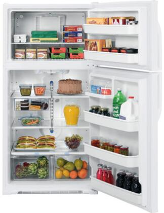 """GE GTS21KBXWW Freestanding Full Size 21.0 cu. ft. No 32.75"""" Top Freezer Refrigerator 