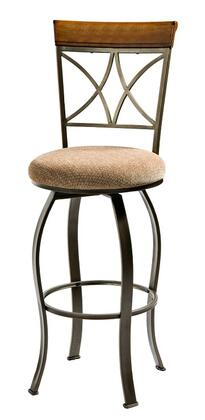Powell 977XXX Hamilton Bar Stool with Brushed Faux Medium Cherry Wood Accent, Beige Fabric Upholstery and Footrest in Matte Pewter and Bronze Metal