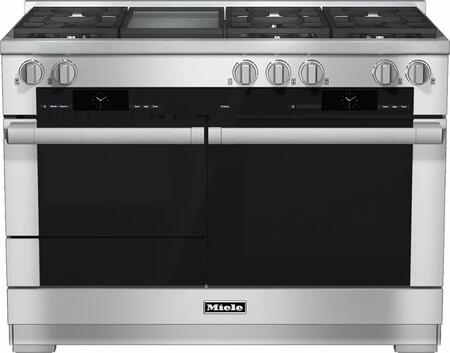 "Miele HR1956D 48"" Pro-Style Dual Fuel Range with 6 Sealed M Pro Dual Stacked Burners, M Pro Griddle, TwinPower Convection Fan Oven, Self-Clean, 21 Operating Modes, Warming Drawer, and ComfortSwivel Handle"