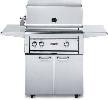 "Lynx L30PSFR-2 Professional Series 56"""" Freestanding Grill with 2 Burners and Rotisserie, 840 Sq. In. Cooking Area, Grill Lights and Control Lights with Blue LEDs, in Stainless Steel:"