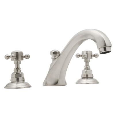 Rohl A1884XC Country Bath Collection 3-Hole Deck Mount Hex Spout Tub Filler, Swarovski Crystal Cross Handles: