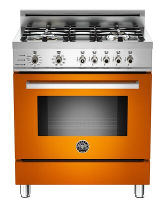 "Bertazzoni PRO304DFSARLP 30"" Professional Series Dual Fuel Freestanding Range with Sealed Burner Cooktop, 3.4 cu. ft. Primary Oven Capacity, in Orange"