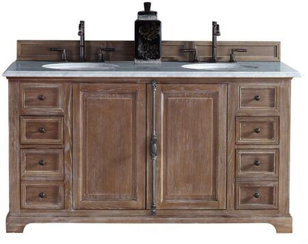 """James Martin Providence Collection 238-105-5611- 60"""" Driftwood Double Vanity with Plantation Style Hardware, Two Soft Close Doors, Four Soft Close Drawers and"""
