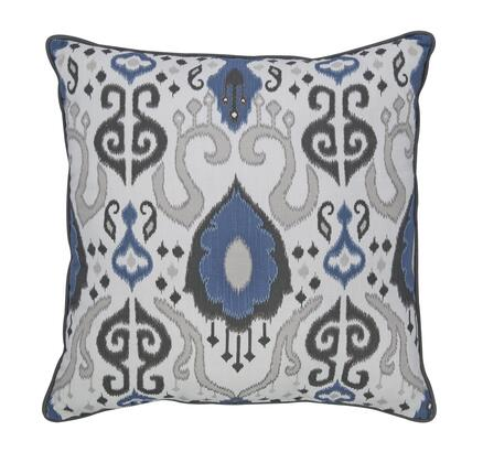 "Signature Design by Ashley Damaria A100023 20"" x 20"" Pillow with Ikat Pattern and Cotton Cover in Blue, Ivory and Brown"