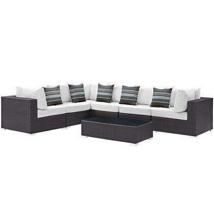 Modway Convene Collection EEI-2361-EXP- 7-Piece Outdoor Patio Sectional Set with Coffee Table, 3 Armless Sections and 3 Corner Sections in Expresso and