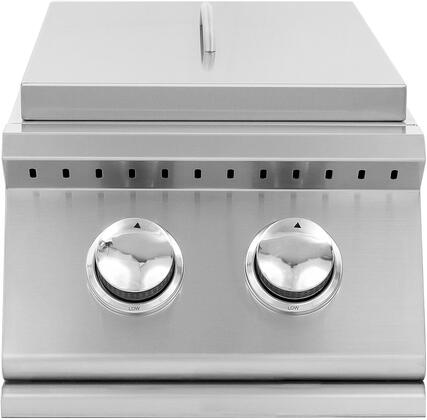 Summerset Grills SIZSB2 Sizzler Series Double Side Burner with Brass Burners, 205 sq. in Cooking Surface, Removable Stainless Steel Lid, in Stainless Steel