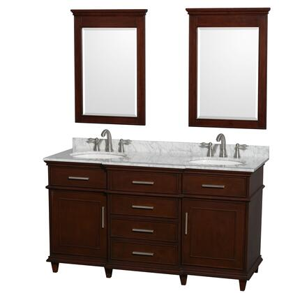 """Wyndham Collection WCV171760 Berkeley 60"""" Sink Vanity with White Porcelain Oval Undermount Sinks, 2 Doors, 5 Drawers, Marble Counter Top, in"""