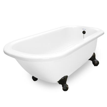 American Bath Factory T060A- Maverick Bathtub no Faucet Holes, Pre-Drilled Overflow and Drain Holes, Waste & Overflow Included: