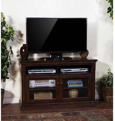 "Sunny Designs 3483DC-X Santa Fe X"" TV Console with Glass Double Door Cabinet, Three Storage Shelves, in Dark Wood Finish"