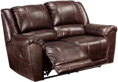 "Signature Design by Ashley Yancy 29200LS 80"" Leather Match Reclining Loveseat with Padded Arms, Split Back Design and Jumbo Stitching Details in Walnut Color"