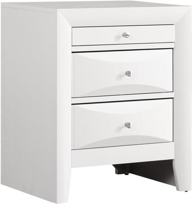 """Glory Furniture 23"""" Nightstand with 3 Drawers, Silver Metal Hardware, Beveled Drawer Fronts, Dovetailed Drawer and Wood Veneer Construction in"""
