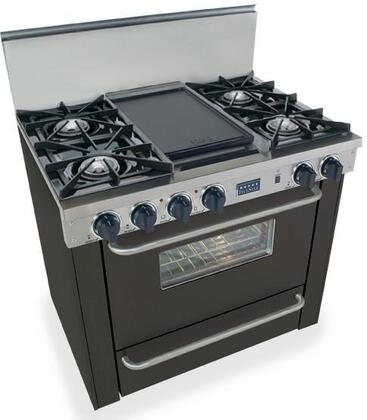 "FiveStar TPN3107 36"" Freestanding Liquid Propane Range With 4 Open Burners, 3.69 Cu. Ft. Oven, Broiler Drawer, Manual Clean, Double Sided Grill/Griddle, In"