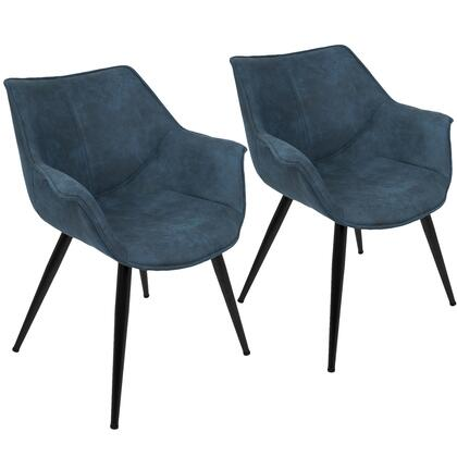 """LumiSource Wrangler CH-WRNG Set of (2) 26"""" Accent Chair with Polyester Upholstery, Flared Arms and Metal Legs in"""
