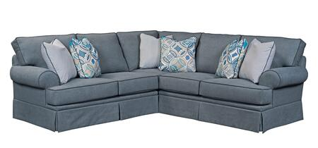 Broyhill Emily Collection 6263SEC Two Piece Sectional Sofa with X Arm Facing Loveseat, X Arm Facing Corner Sofa in Woven Blue
