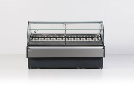 Hydra-Kool KFMGLxS Gelato Case with Stainless Steel Pans, Lift Up Tempered Front Glass, Defrost and Temperature Regulated By a Digital Controller, and in Black