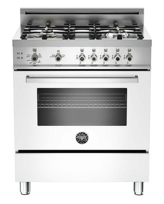 "Bertazzoni Professional Series PRO304GASTLP 30"" Range with 4 Brass Burners, 18,000 BTUs Power Burner, Designer Metal Knobs, 3.6 cu. ft. Gas Convection Oven, Telescopic Glide Shelf"