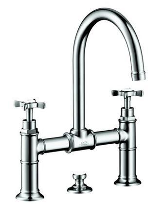 Hansgrohe 16510 Axor Montreux Bridge Bathroom Faucet with Metal Cross Handles, and Pop-Up Drain: