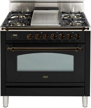 "Ilve UPN90FDVGGNY 36"" Nostalgie Series Gas Freestanding Range with Sealed Burner Cooktop, 3.5 cu. ft. Primary Oven Capacity, Warming in Gloss Black"