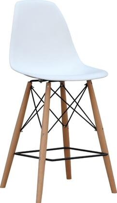 Fine Mod Imports FMI1011025WHITE WoodLeg Series Residential Not Upholstered Bar Stool
