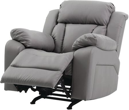 "Glory Furniture G680 Collection 37"" Rocker Recliner with Channel Tufted Back, Padded Arms and Faux Leather Upholstery in"