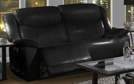 """New Classic Home Furnishings 2-324-3-MBK Soho 82.5"""" Dual Recliner Sofa with Bonded Leather Match, Hardwood Frame, Fiber Fill Backs, Sinuous Spring """"No Sag"""" Deck and Memory Foam Topper, in Black"""
