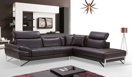 ESF I1727X 2194 Sectional with Leather in Brown
