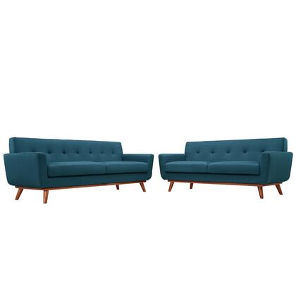 Modway EEI-1348 Engage Loveseat and Sofa Set of 2 with Modern Design, Cherry Color Rubber Wood, Plastic Glides, 440 lbs. Weight Capacity and 100% Polyester Upholstery