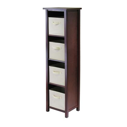 Winsome 94X61 Verona 4-Section N Storage Shelf in Walnut with 4 Foldable Fabric Baskets