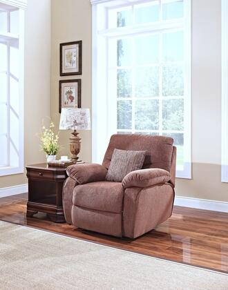 "New Classic Home Furnishings 21121FDG Cheshire 39"" Recliner with 100% Polyester Upholstery, Hardwood Frame, Sinuous Spring ""No Sag"" Deck Support, Memory Foam Topper and Spring Cushion, in Fudge"