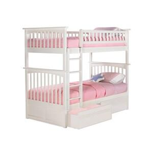 Atlantic Furniture AB5511 Columbia Bunk Bed Twin Over Twin with Flat Panel Bed Drawers