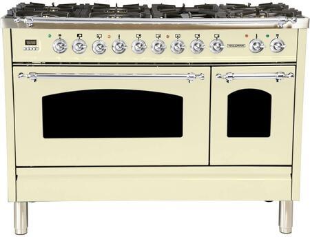 "Hallman HGR4802DFx 48"" Double Oven Dual Fuel Italian Range with True Convection 7-Burners, Griddle, 15500 BTU Triple Ring Burner, 5 cu. ft. Capacity, in"