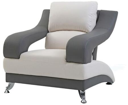 Glory Furniture G244C Faux Leather Armchair with Metal Frame in Grey and White