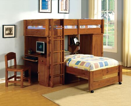 Furniture of America CMBK529OAKSET Harford Series  Twin Size Bed